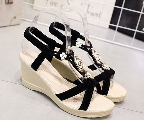 Cute Jewel Ankle Strap Summer Wedges