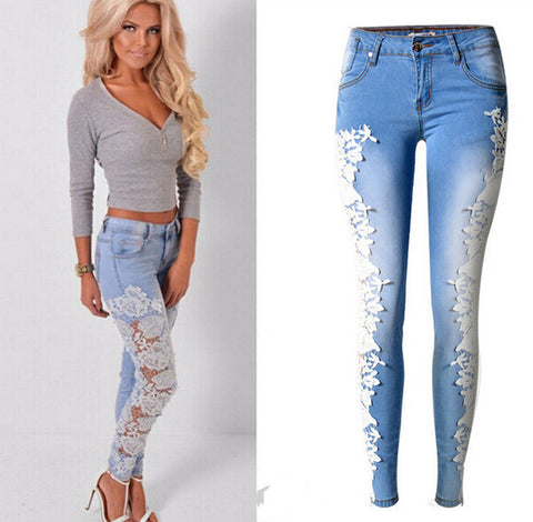 Lovely Floral Lace Womens Denim Jeans