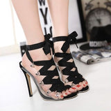 Edgy Hollow Open Toe Ankle Lace High Heels