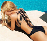 Edgy Black Sexy Back One-Piece Monokini Swimsuit