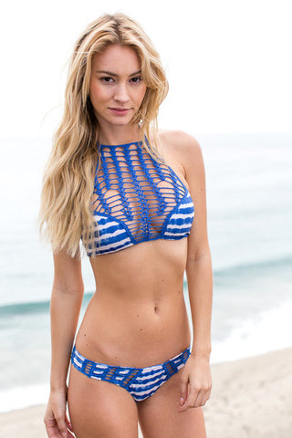 Edgy Knit Top Stripe Stylish Swimsuit Bikini