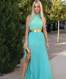 Beautiful Halter Gold Belt Open Front Maxi Dress