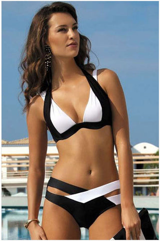Edgy High Neck Triangle Swimsuit Bikini