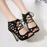 Edgy Peep Toe Honeycomb Design Lace Heels