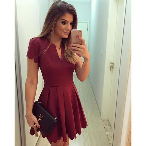 Hot Elegant Sleeve Party Mini Red Dress