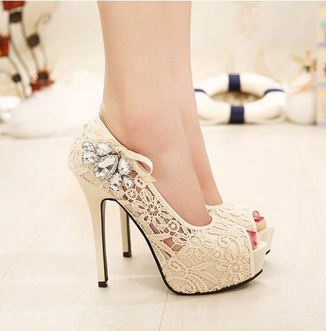 Beautiful Lace Peep Toe Stiletto High Heels