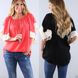 Beautiful Lace Sleeve Loose T-Shirt