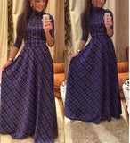 Cute Casual Plaid Long Maxi Dress