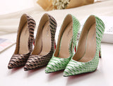 Modern Snakeskin Print Point Toe High Heels