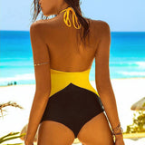 Beautiful 2-Tone Mesh Monokini One-Piece Swimsuit