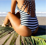 Cute Stripe Trendy Back Monokini One-Piece Swimsuit