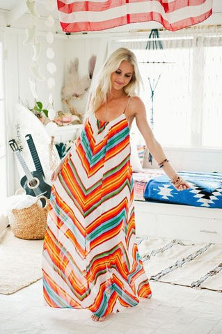 Stylish Multicolor Zigzag Long Chiffon Dress