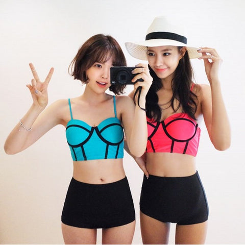 Cute Patchwork Halter Swimsuit Bikini