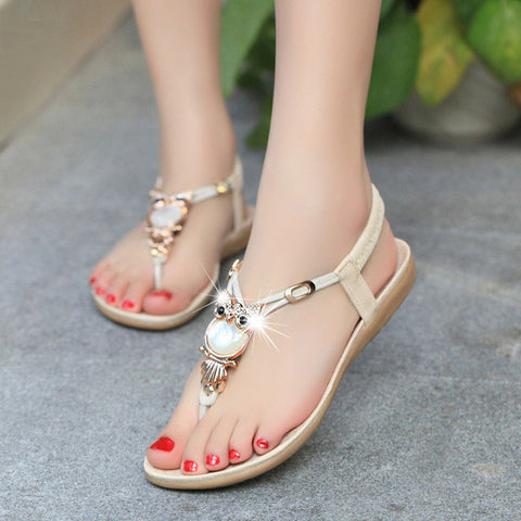 Beautiful Pearl Jewel Ankle T-Strap Sandals