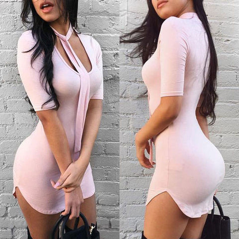 Beautiful Slim Hip Pink Mini Dress