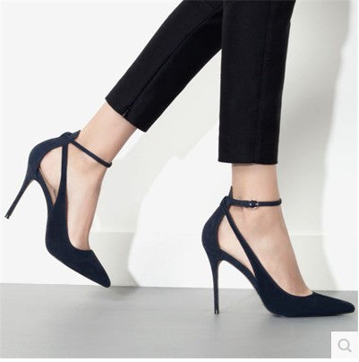 Classy Point Toe Ankle Strap Casual Heels