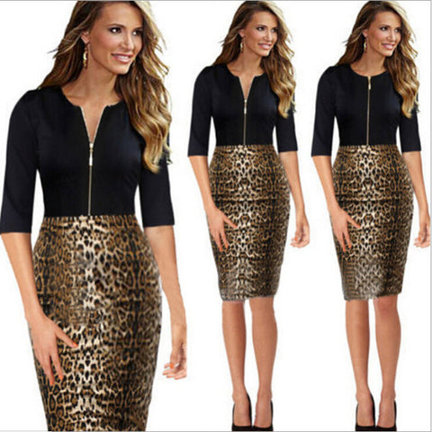 Posh Black Leopard Print Slim Pencil Dress