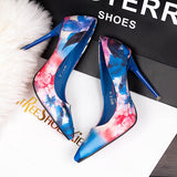 Pretty Floral Print Point Toe Casual High Heels