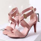 Stylish Cross Strap Buckle Sandal Heels