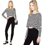 Cool Stylish Stripe Scoop Neck Crop Top