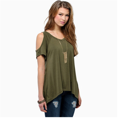 Beautiful Summer Cut Out Shoulder Shirt