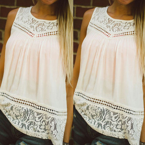 Beautiful Lace Pattern Chiffon Tank Top