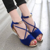 Trendy Open Toe Cross Strap Wedges