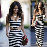 Stylish Stripe Long Slim Dress
