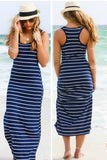 Casual Stripe Summer Long Beach Dress