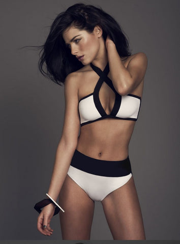 Stylish Black And White Swimsuit Bikini