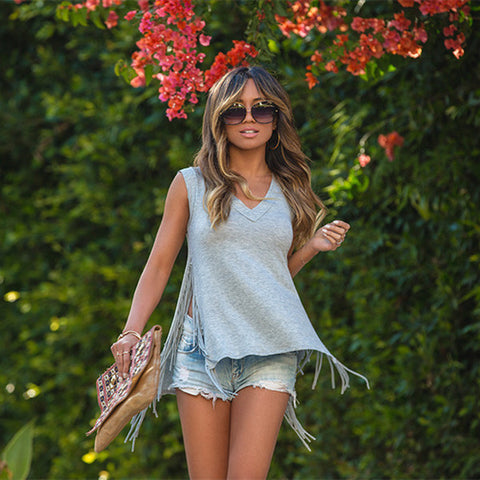 Stylish Split Fringe Cool Casual Tank Top