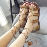 Lovely Summer Rivet Cross String Sandals