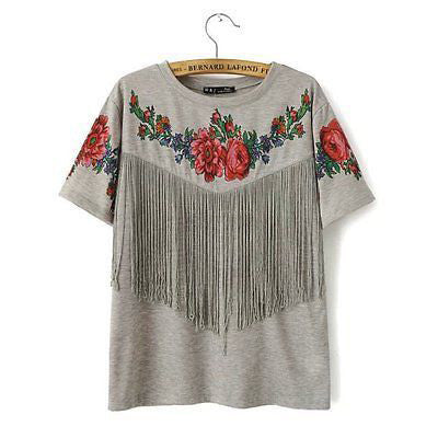 Lovely Grey Summer Floral Tassel Casual T-Shirt