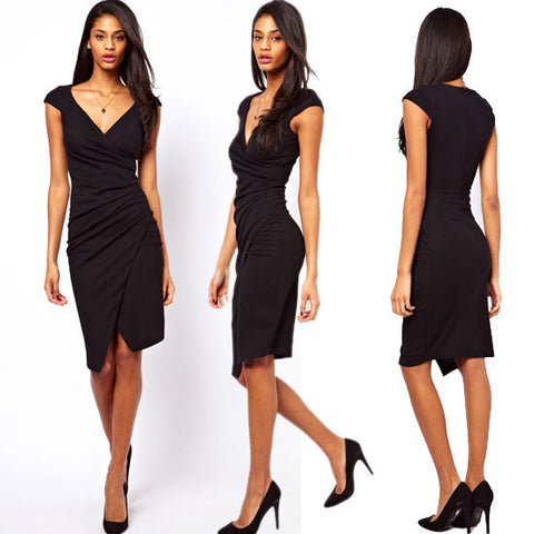 Womens Sexy V Neck Bodycon Summer Dress