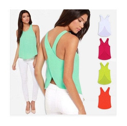 Womens Trendy Cross Halter Chiffon Blouse Top