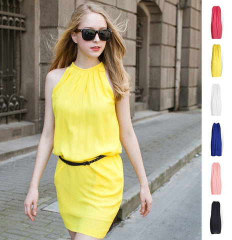 Womens Trendy Sleeveless Stylish Chiffon Dress