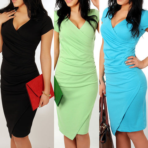 Womens Vintage Patchwork V Neck Party Pencil Dress