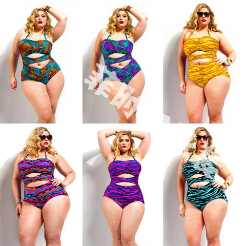 Womens Lovely Plus Size One Piece Swimsuit