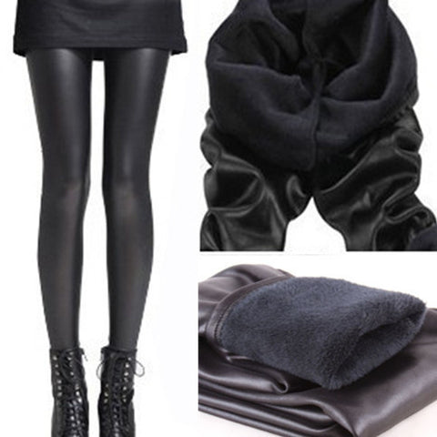 Womens Trendy Black Stretch Leather Pants Leggings