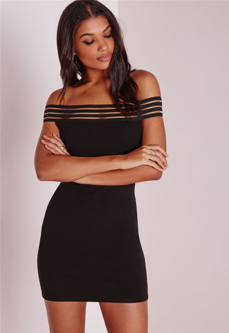 Womens Sexy Off Shoulder Hip Slim Boat Neck Dress