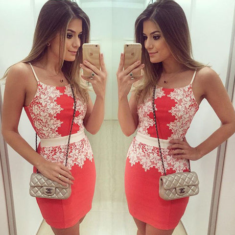 Womens Lovely Red Flower Backless Sexy Mini Dress