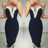 Womens Trendy V Neck Lace Party Evening Gown Dress