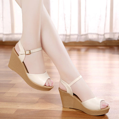 Womens Elegant Open Toe Wedge