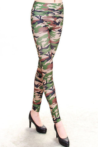 Womens Trendy Stretch Army Camo Pant Leggings
