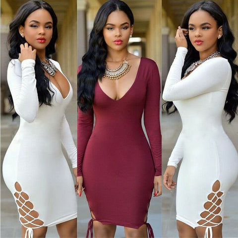 Womens Sexy V Neck Long Sleeve Party Dress