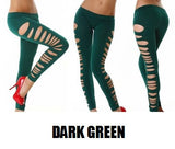 Womens Sexy Slashed Ripped Cut Out Slit Leggings