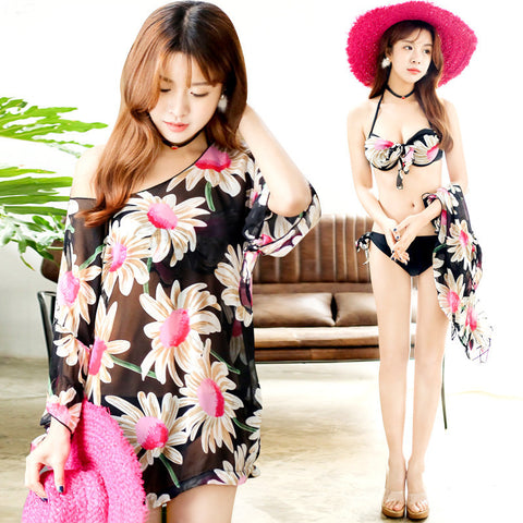 Womens Lovely Floral Bikini With Pullover Top