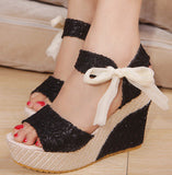 Cute Open Toe Bow Lace Sandal Wedges