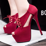 Lovely Lace Peep Toe Design Trendy High Heels