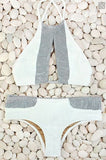 Trendy White And Grey Stylish Swimsuit Bikini